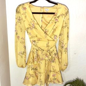 Love, fire   Tiered Wrap Dress Floral Yellow